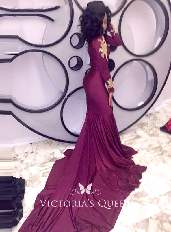 7835074c2c Burgundy Long Sleeve Gold Appliqued Mermaid Long unique Prom Gown. Burgundy High  Neck ...