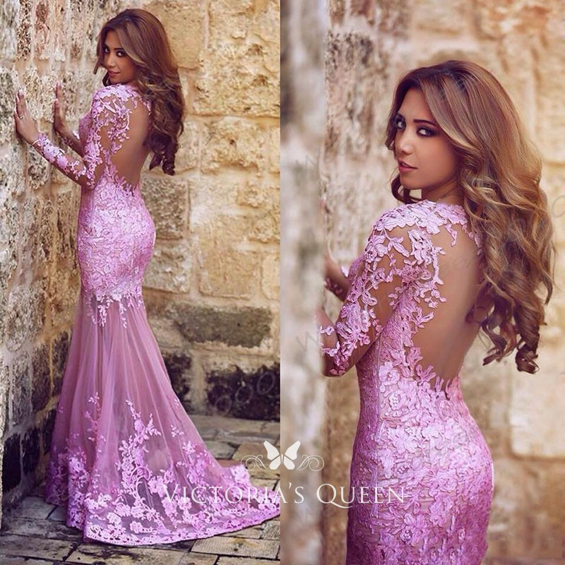 61ba722cfbfcd lilac Lace and Tulle Long Sleeve Mermaid Sheer Back Long Evening Prom Dress