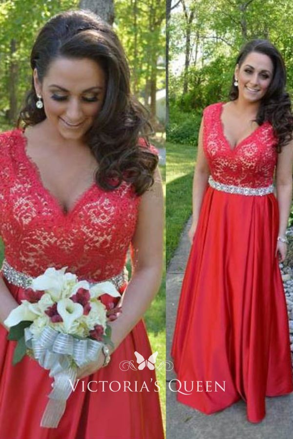 Beaded Red Lace and Satin V-neckline A-line Long Evening Prom Dress ... b74d43f34