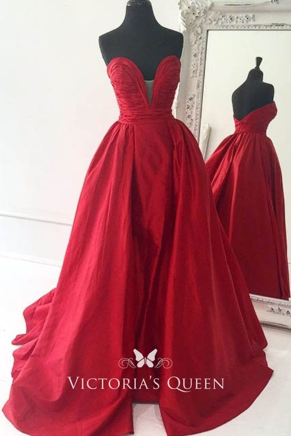 825ffefb9a6b Strapless Plunging Neckline Floor length Overskirt Red Satin Wrapped Prom  Dress