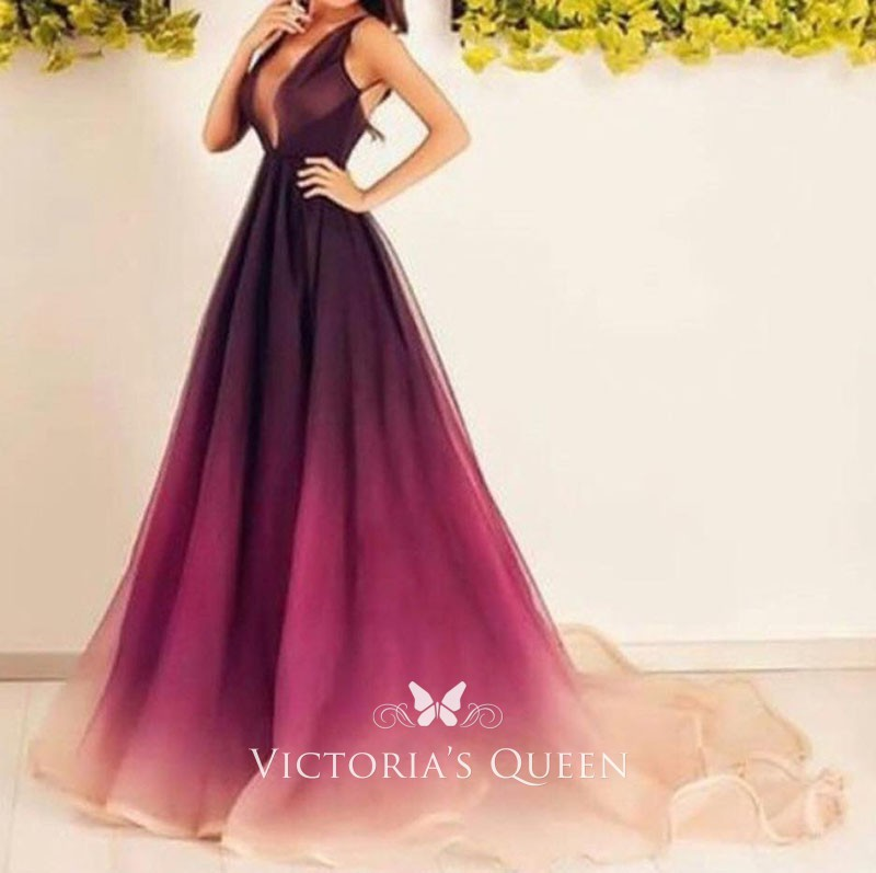 ae012cda66ef3 Gradient Ombre Burgundy to Peach Chiffon Deep V-neck Prom Dress ...
