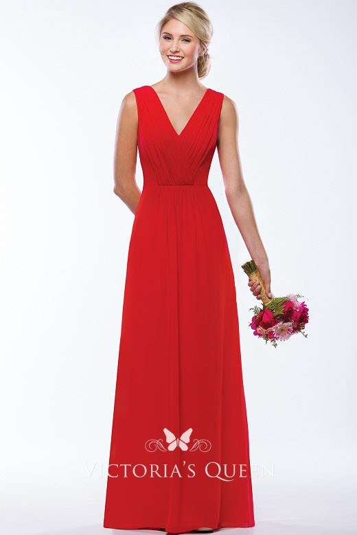 779f5f7bed Pleated Red Chiffon V neck Sleeveless A line Floor Length Bridesmaid Dress