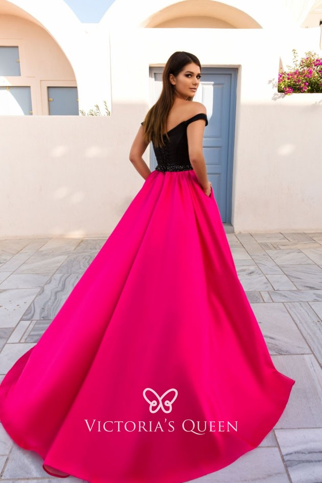 daeb4f9483d9 black and hot pink satin off the shoulder fabulous ball gown prom dress