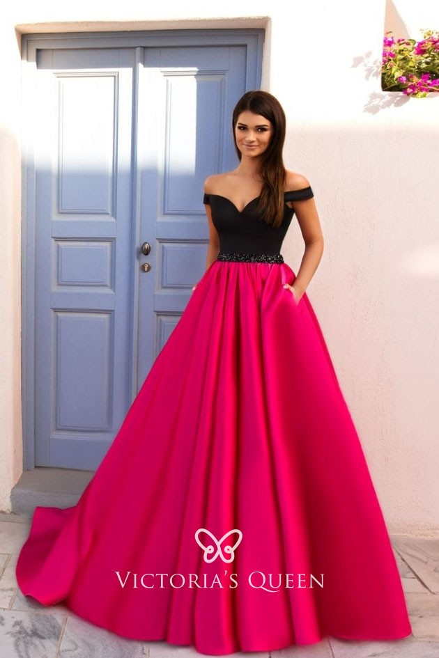 3a75c4d6227b black and hot pink two tone satin off the shoulder fabulous ball gown prom  dress