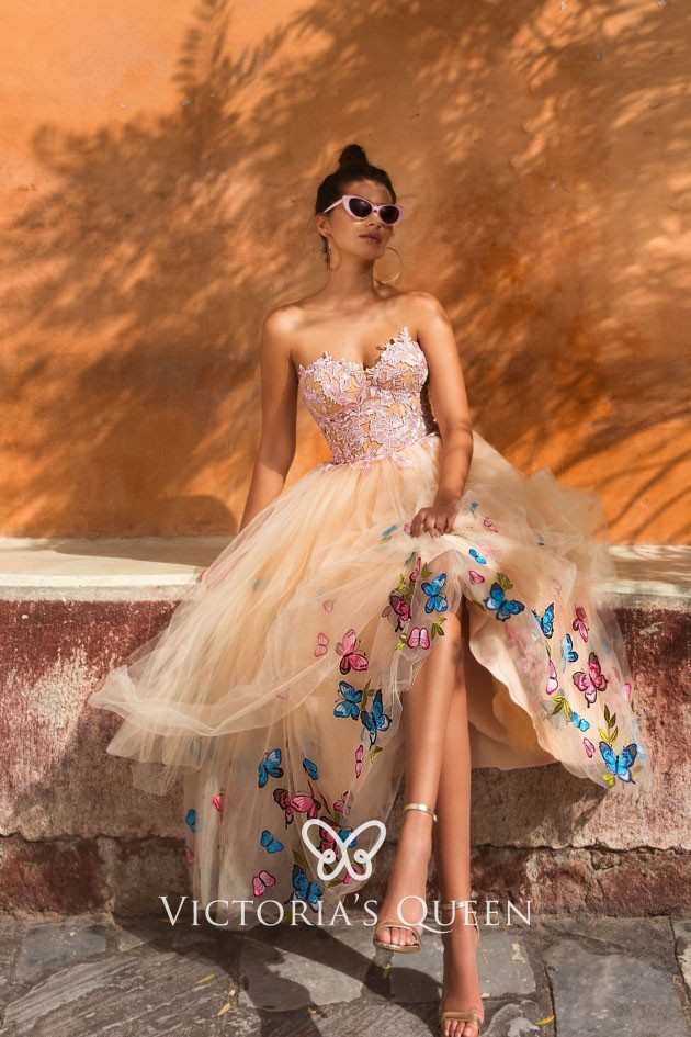019bd88fe7b46 sweet butterfly champagne tulle tea length strapless sweetheart prom dress