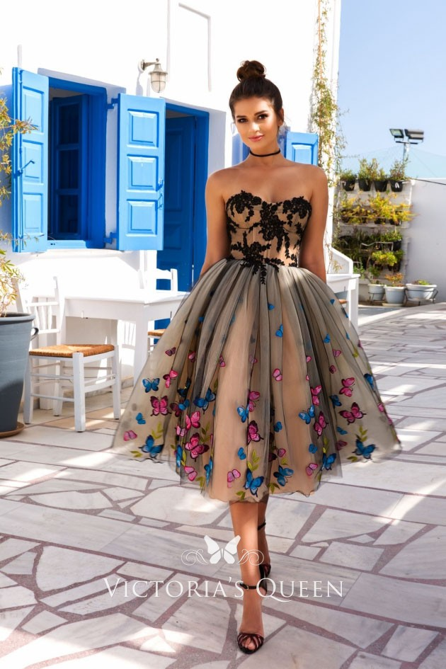 12d68f6e31e8c Colorful butterfly floral black lace appliqued champagne tulle tea length  prom gown