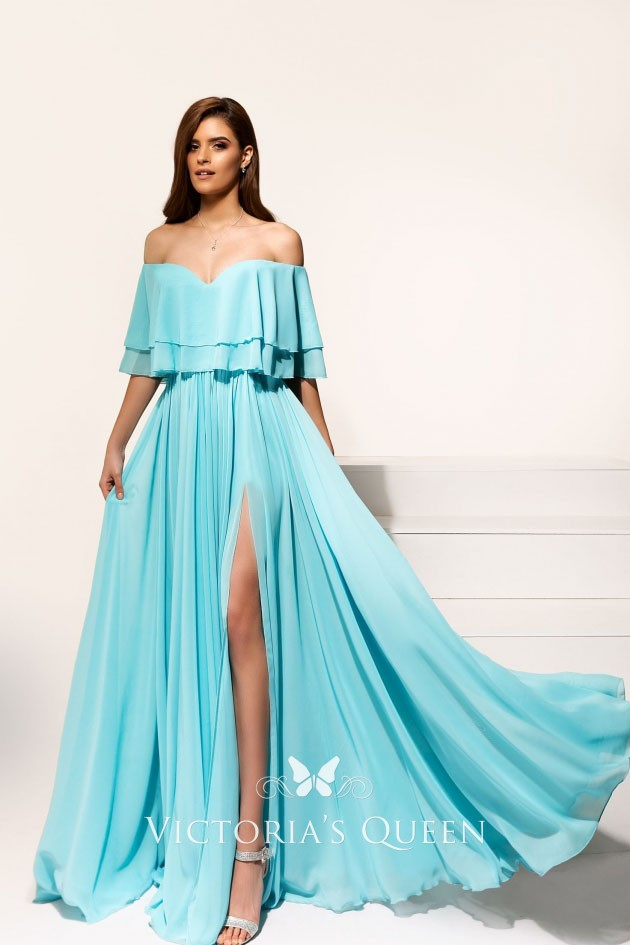 9ecdcfe012f8 alluring tiffany blue chiffon off the shoulder thigh high slit long prom  dress