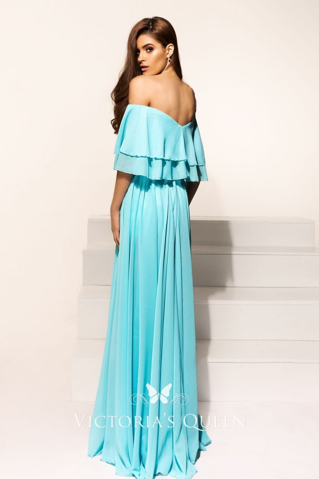 7ccb5bd1c38c Alluring Tiffany Blue Chiffon Off-the-shoulder Thigh-high Slit Long ...