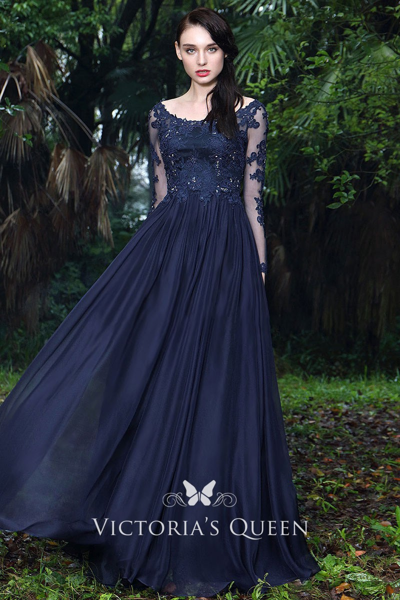 997ba432b4 Navy Lace and Chiffon Boat Neck Sheer Long Sleeve A line Empire Long Prom  Gown