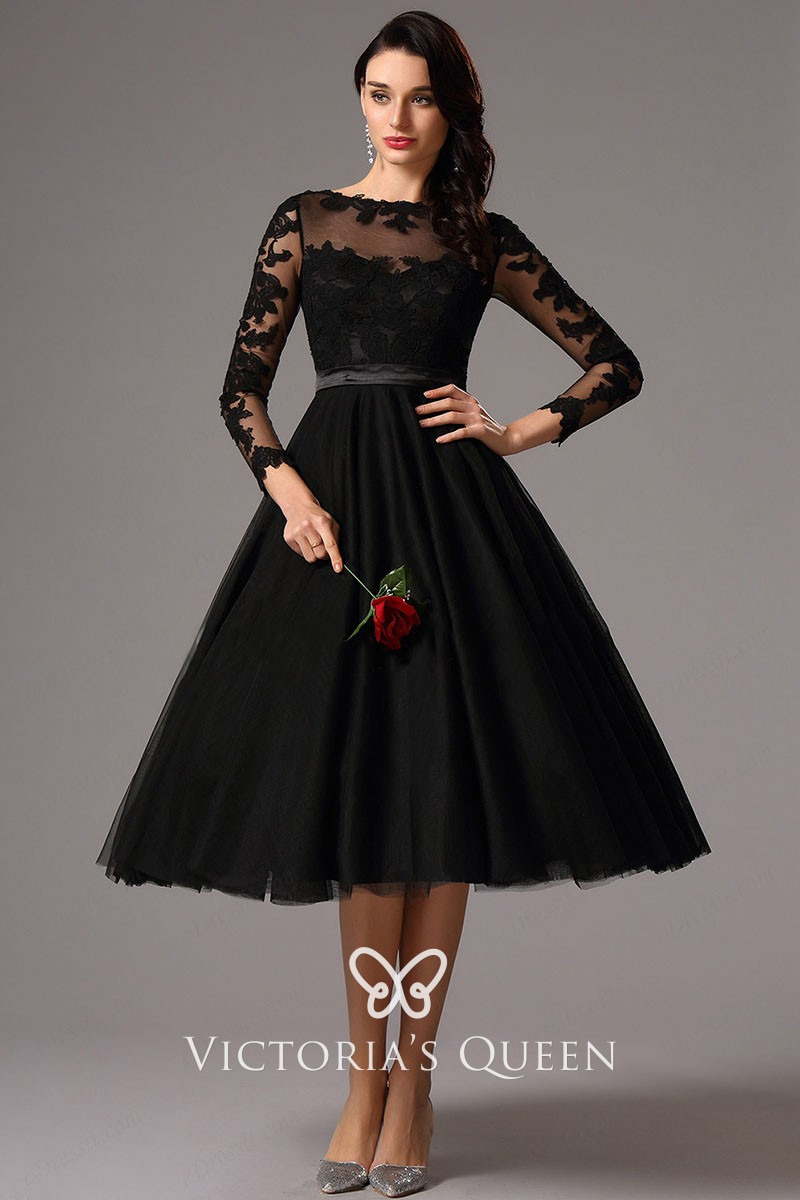 5348db5a525f long sleeve tea length illusion black lace and tulle cocktail evening dress