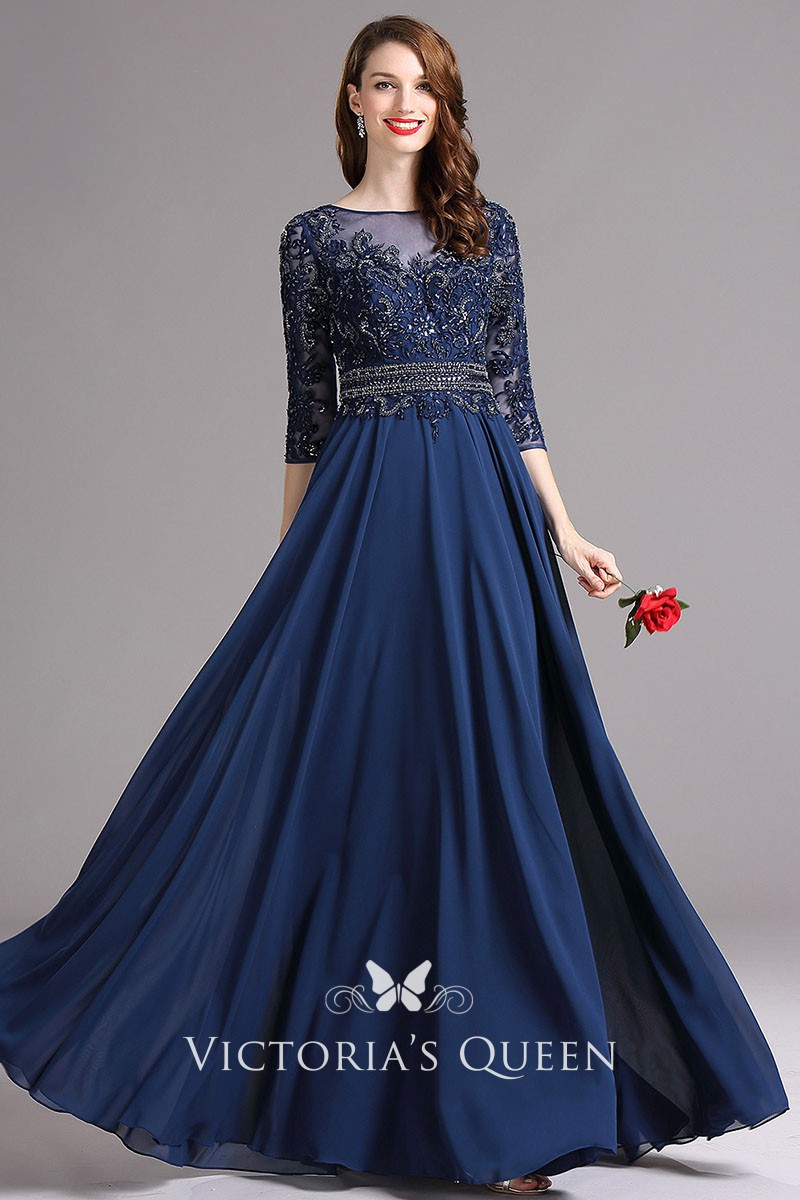 3/4 Sleeve Chiffon Prom Dress