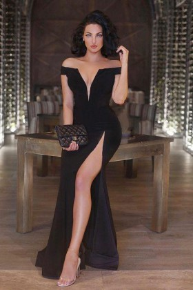 22ac4bfba6fd4 off the shoulder deep V neckline black sexy thigh high slit fit and flare prom  dress