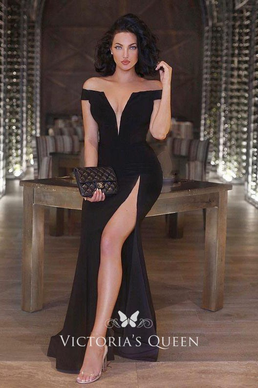 e5e8636a52f2 off the shoulder deep V neckline black sexy thigh high slit fit and flare  prom dress