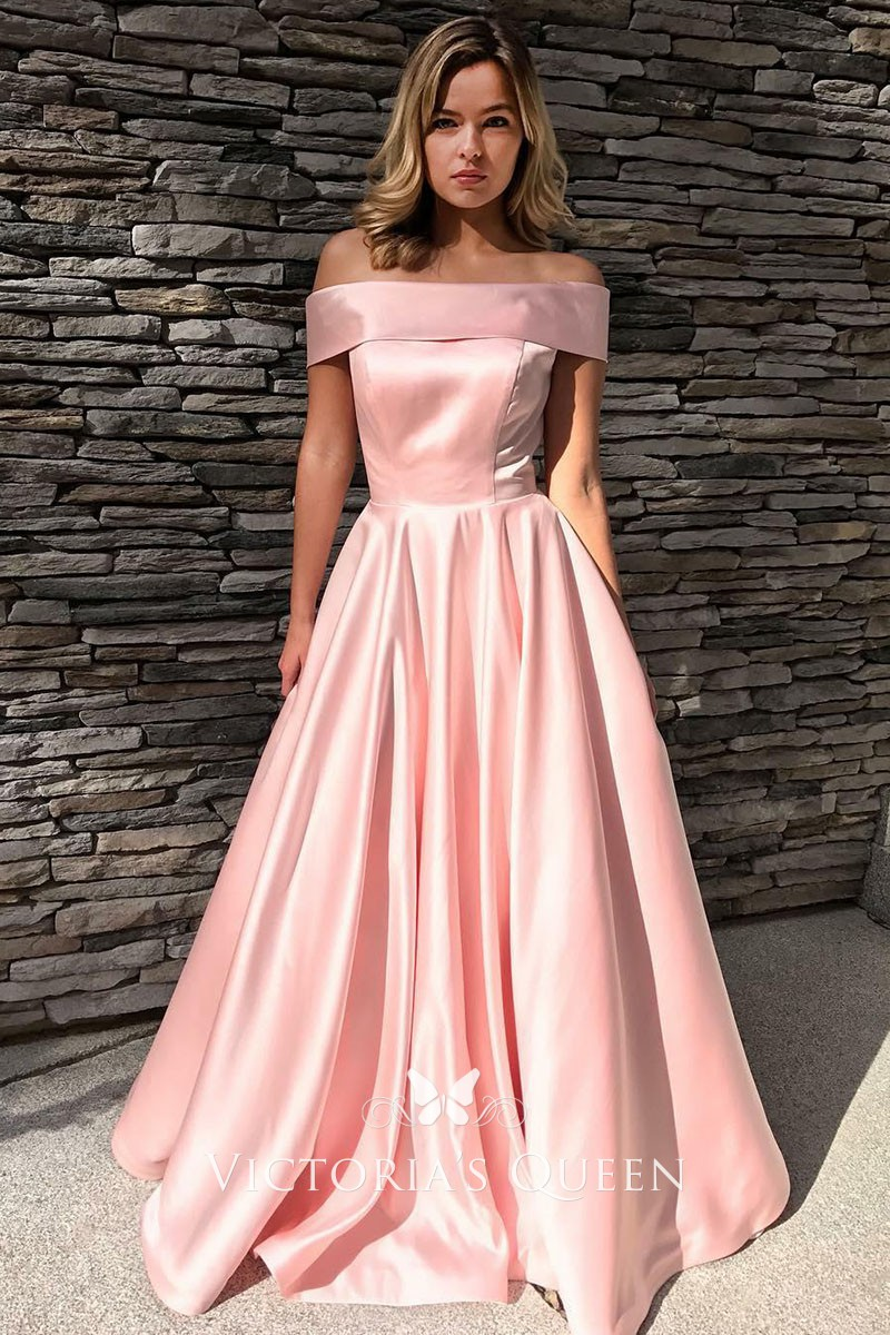Sweet and Cute Pink Satin Off-the