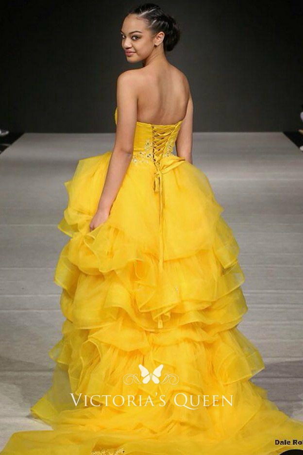 Yellow Tiered Flounced Organza Strapless