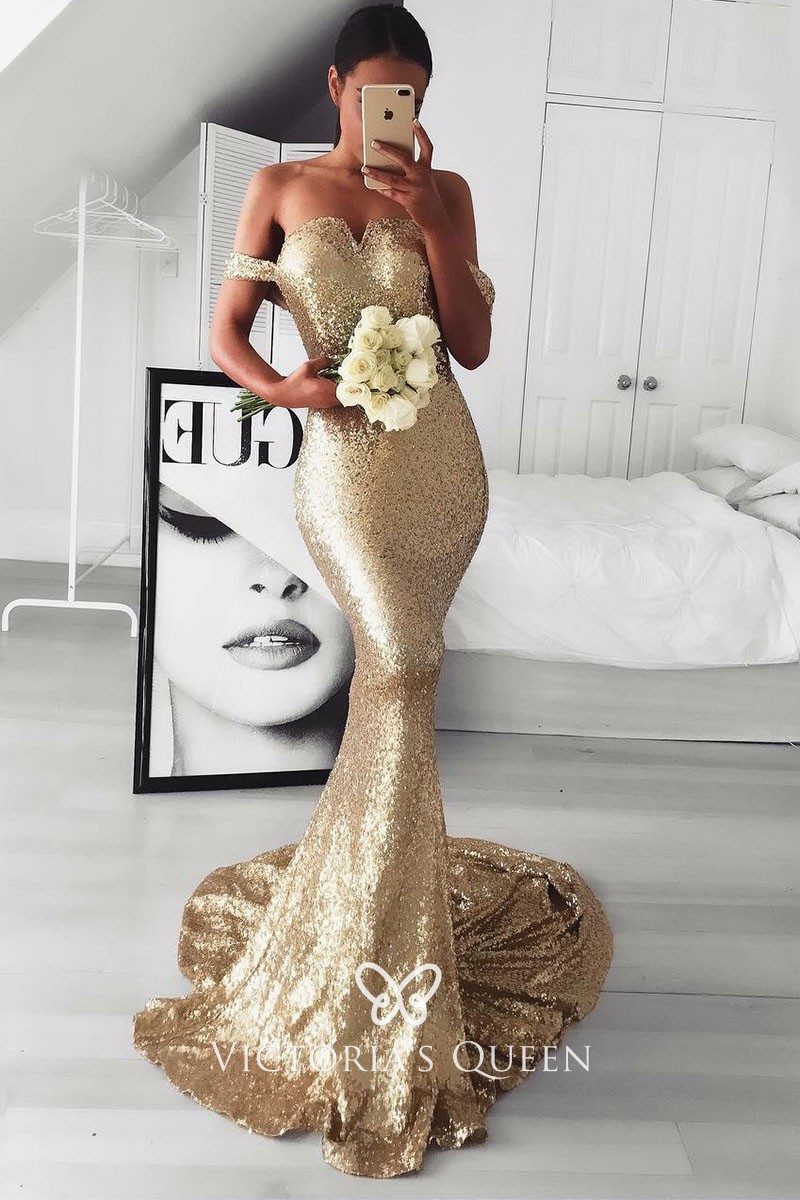 06a8c906bb Dazzling Gold Sequin Off-the-shoulder Long Mermaid Prom Dress ...
