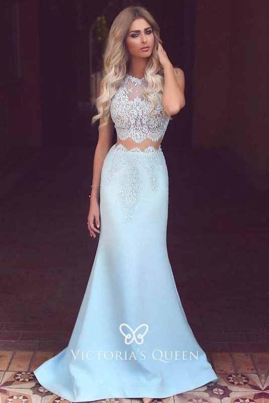 trendy two piece sky blue lace and satin scalloped illusion mermaid prom  dress ce2a51c3e