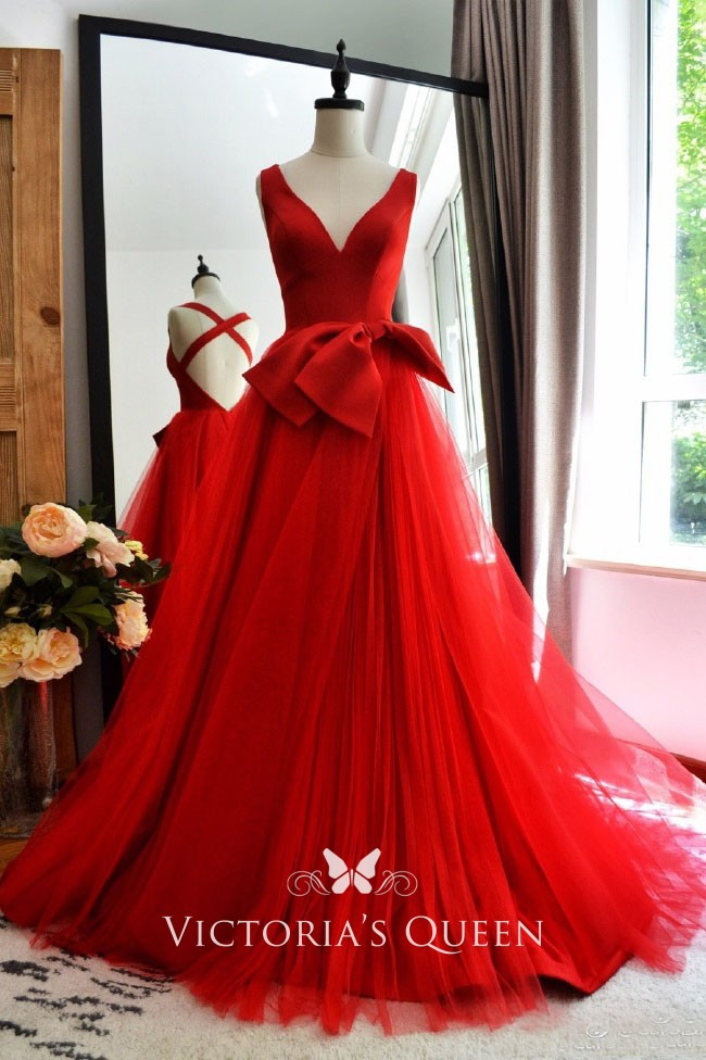 Unique And Modern Red Satin And Tulle Deep V Neckline Bow