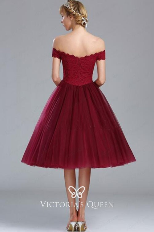 e4dcefaf32cd burgundy tulle cute scalloped off the shoulder cocktail prom dress. short A  line ...