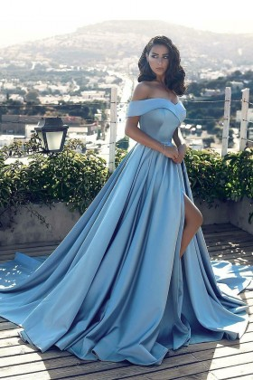 modern off the shoulder sky blue satin thigh high slit prom ball gown 7881873ea193