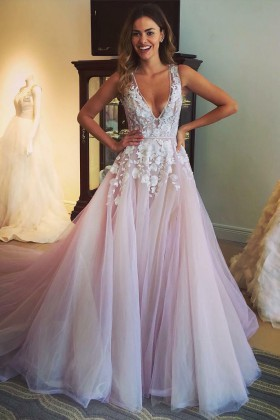 5e8673ae1f5a floral appliqued blush tulle plunging V neckline timeless sleeveless prom  dress