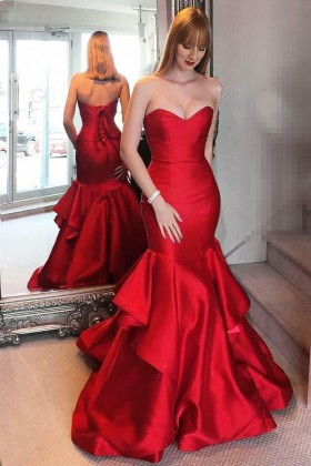 4657936af342f classic lustrous red satin strapless sweetheart mermaid layered prom dress
