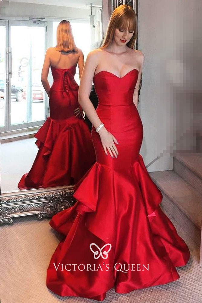ea8d91aceb25a classic lustrous red satin strapless sweetheart mermaid layered prom dress