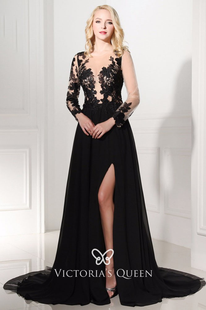 Black Lace Prom Dress with Sleeves