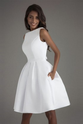 9c51e2d8966b modest sleeveless bateau neckline white satin short cocktail dress with  pockets