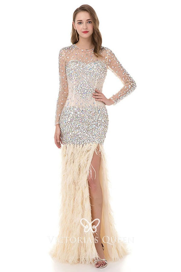 13ad0ccb58ba gorgeous crystals sheer champagne long sleeve feather mermaid evening prom  dress