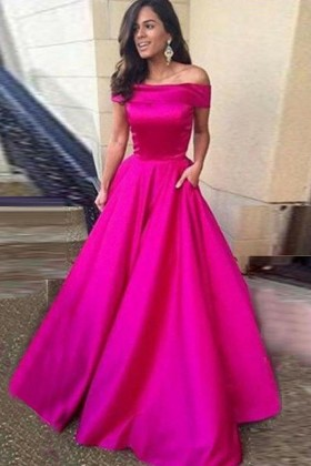 1d0d59af3a82 classic fuchsia satin off the shoulder floor length ball gown prom dress