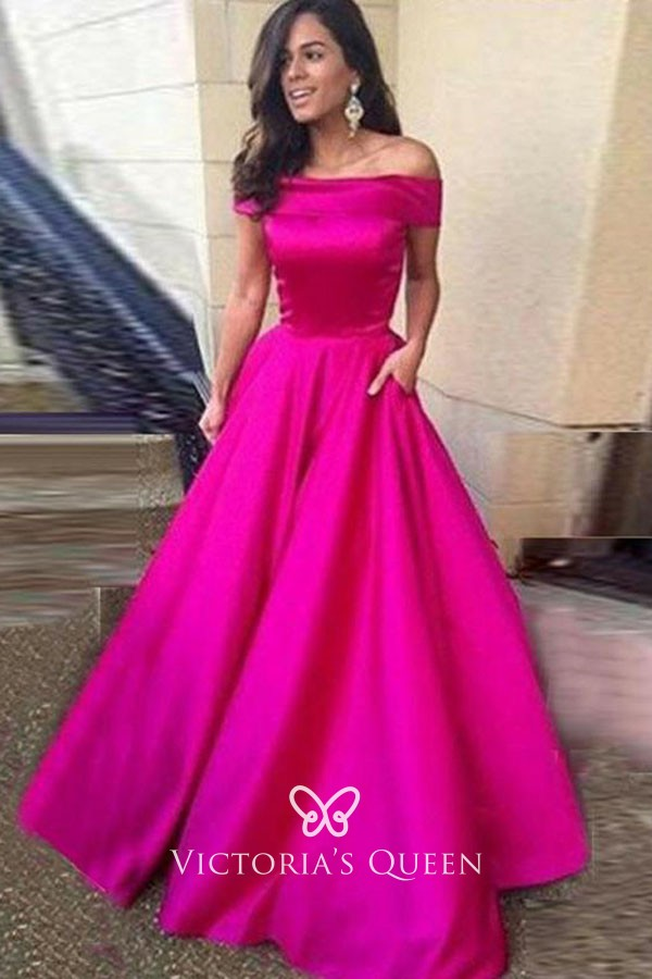 1a749c752d classic fuchsia satin off the shoulder floor length ball gown prom dress