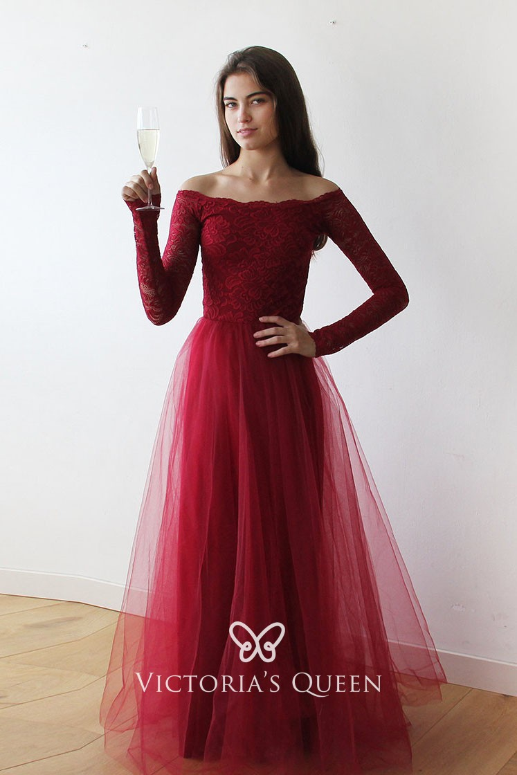 9aad078042d1b Modest Long Sleeve Off-the-shoulder Red Lace and Tulle A-line Prom Dress