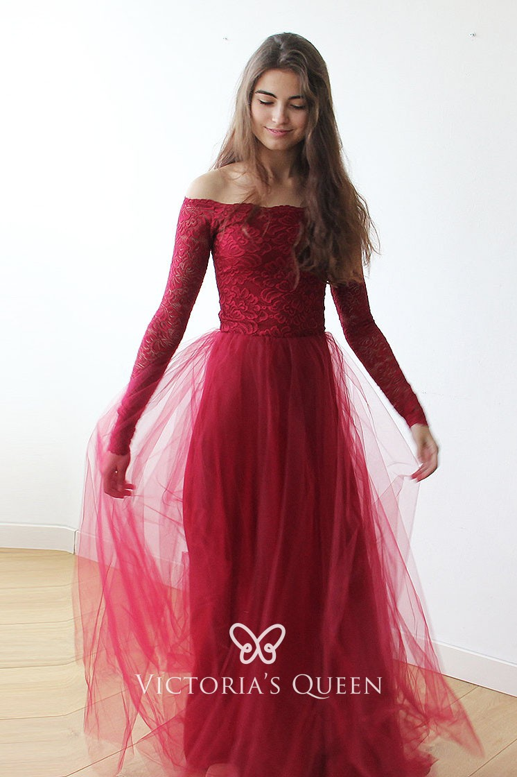 l'ultimo allacciarsi dentro più amato Long Sleeve Off-shoulder Red Lace and Tulle Prom Dress