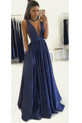 sleeveless plunging V neckline navy satin sexy formal prom dress with  pockets c6de06fe5