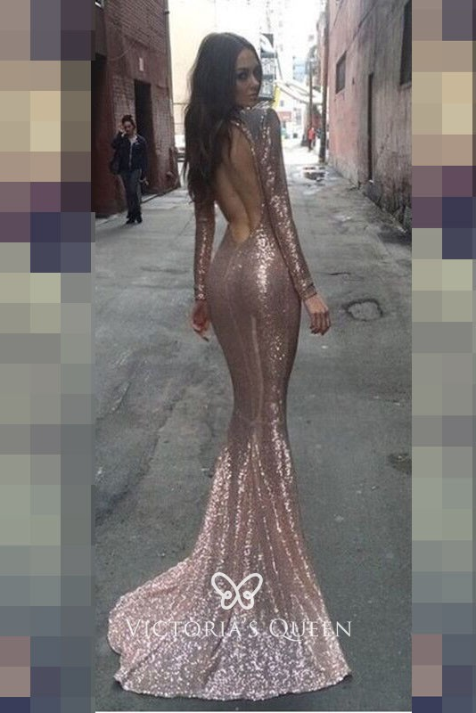 Gold Sequin Long Sleeve High Neck Mermaid Prom Dress