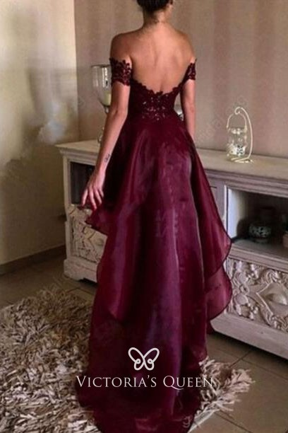 0677454ab374 Modern High-low Off-the-shoulder Burgundy Lace and Organza Prom ...