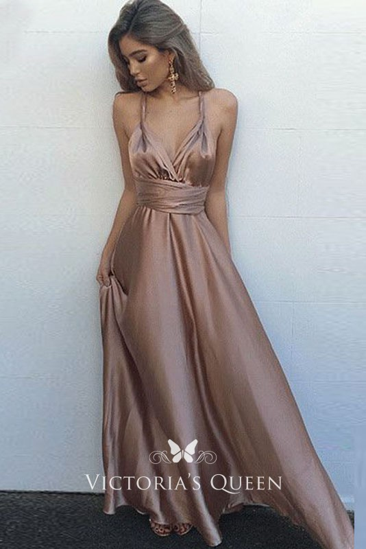 e81e88714a40 halter deep V neckline empire waist sleeveless A line mauve satin prom dress