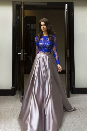 84c1a0ed67ebc modern royal blue lace long sleeve crop top silver satin two piece prom  dress