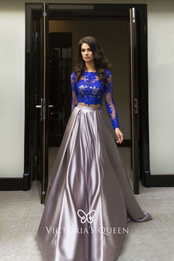 modern royal blue lace long sleeve crop top silver satin two piece prom  dress d246e45f9