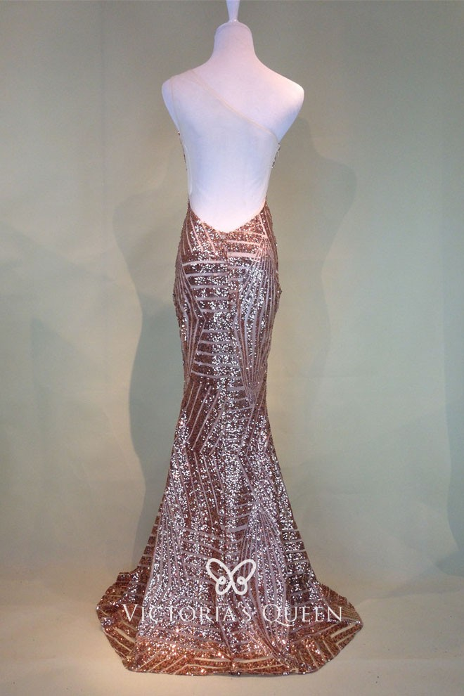 One Shoulder See Through Cutout Gold Sequin Mermaid Long