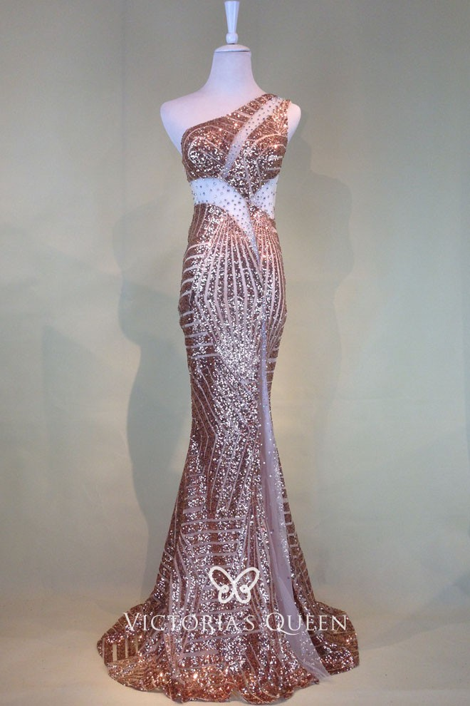 5c8344f1aaa5 one shoulder see through cutout gold sequin mermaid long glitter prom dress