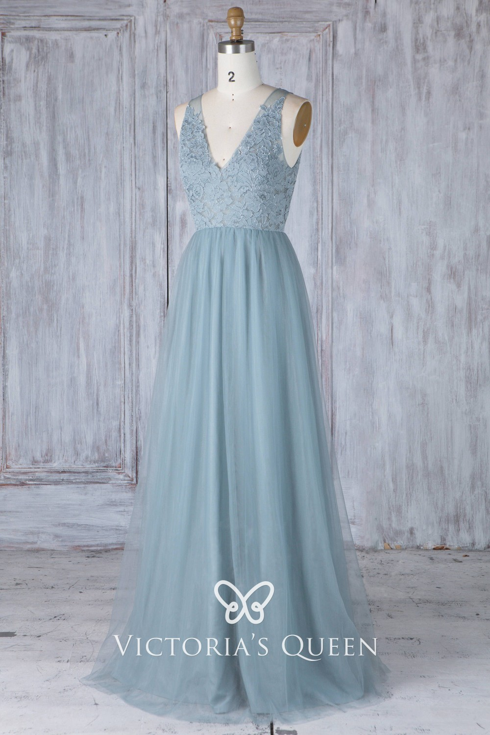 Dusty Blue Bridesmaid Dress Lace And Tulle V Neck Long
