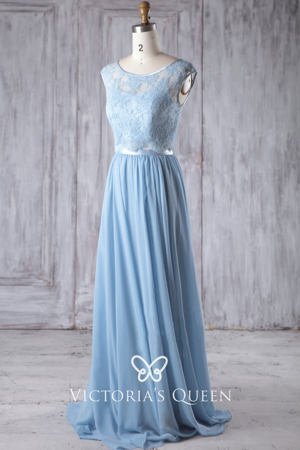 Baby Blue Bridesmaid Dress Two-piece