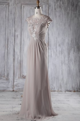 c1d89261ef Taupe lace and chiffon bridesmaid dress illusion cap sleeve open back prom  gown