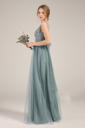 9ed1a2209f8 dusty blue lace chiffon and tulle bridesmaid dress vintage style illusion  bodice