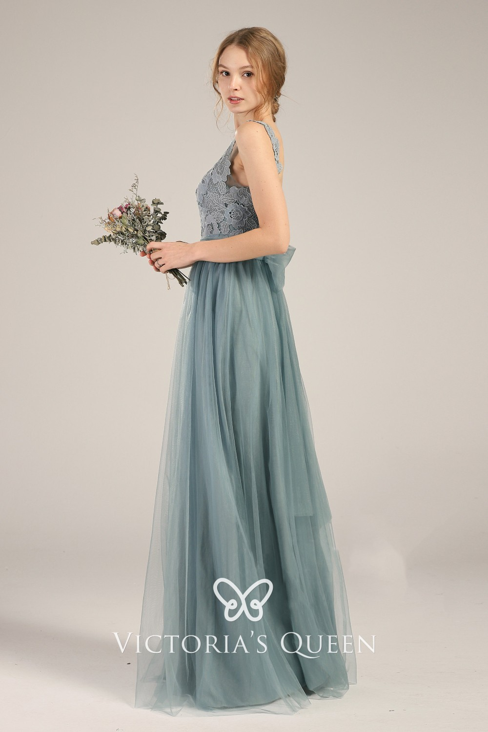 Dusty Blue Lace Chiffon and Tulle Long