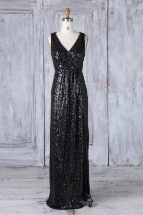 8031941ec64 Bedazzled black sequin bridesmaid dress V neckline sheath long party gown
