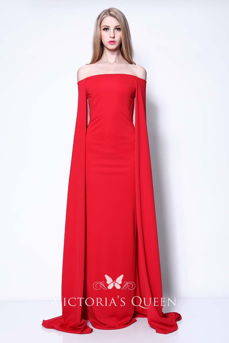 f369c19535a8 Off-the-shoulder Neck Wrapped A-line Red Prom Gown Lupita Nyong'o ...