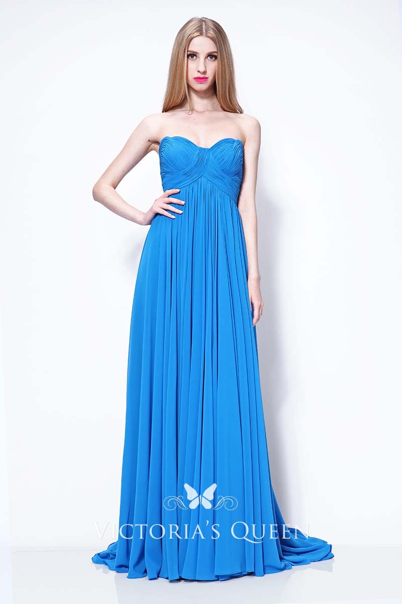 027dc5460a17 Pleated Blue Chiffon Strapless A-line Long Evening Prom Dress ...